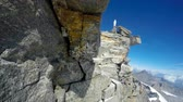 sella : Mountaineer POV on expedition to Gran Paradiso summit on Italian Alps. View from helmet mount camera Stock Footage