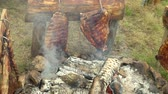 celta : Cooking meat on fire in a Celtic village Vídeos