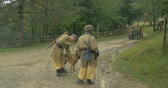 line : German soldiers from a mountain unit during a WWII reenactment on 20 September 2014 at Monte Altuzzo, Italy Stock Footage