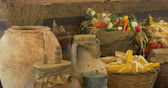 berinjela : Fresh vegetables assortment in boxes and baskets on wooden shelf