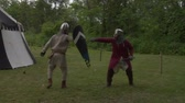 knight : Historical reenactment of the Battle of Legnano fought on May 29, 1176 Stock Footage