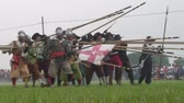 alay : Historical reenactment of Battle of Staffarda fought during Nine Years War in Piedmont-Savoy northern Italy between Louis XIV and Duke of Savoy army on 18 August 1690.