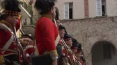 nineteenth : Reenactment of battle between French and British soldiers during Napoleonic War at Loano Italy in 1812 Stock Footage
