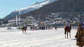 trotting : The European Championship of horserace on the White Turf in the magnificent scenery of the Upper Engadine on February 23rd, 2014 in St. Moritz Switzerland Stock Footage