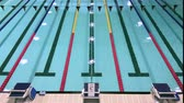 lap : Olympic swimming pool with competition lanes Stock Footage