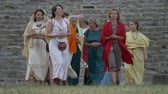 costumes : Roman patricians (noble people) during the reenactment 'Back In Time' on July 29, 2017 in Arezzo (Italy)
