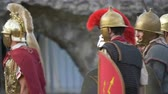 imperial : Battle between Gaulish warriors and Roman legionaries during the reenactment 'Back In Time' on July 29, 2017 in Arezzo (Italy)