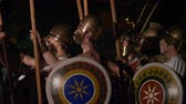 troops : The Macedonian phalanx, a greek infantry formation, executing complex maneuvers during the reenactment 'Back In Time' on July 29, 2017 in Arezzo (Italy) Stock Footage