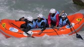 exciting : The Iranian women's Under 23 rafting team in the training on the Dora Baltea river during World Rafting Championship on 23 July 2018, Ivrea (Italy) Stock Footage