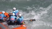 jangada : The Italian women's Under 23 rafting team in the training (in slow motion) on the Dora Baltea river during World Rafting Championship on 23 July 2018, Ivrea (Italy) Stock Footage