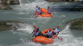 jangada : The Albanian Under 23 men's rafting team in the training on the Dora Baltea river during World Rafting Championship on 23 July 2018, Ivrea (Italy)