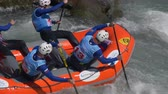 jangada : The Russian Federation Under 23 men's rafting team in the training on the Dora Baltea river during World Rafting Championship on 23 July 2018, Ivrea (Italy)