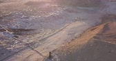 escavadeira : Aerial view of garbage pile in a landfill at sunset