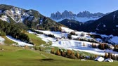 santa magdalena : Panoramic view of winter sunny day in St. Magdalena village, Funes valley, Odle Group, Dolomiti Alps. Bolzano - South Tyrol, Italy