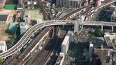 県 : aerial view of traffic close to Osaka Abenobashi station, Japan, UHD 4K