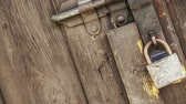 hinges : Old heck door of an ancient building. Stock Footage