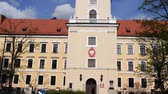 corner : Rzeszow Castle - one of the main landmarks of Rzeszow rebuilt between 1902-1906, located on the former grounds of the castle of the House of Lubomirski. Stock Footage