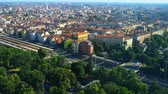 roof : Milan aerial view, the second-most populous city in Italy, serves as the capital of Lombardy.