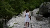 noivo : Beautiful little girl is engaged in Nordic walking along the Great Paklenica in Croatia.