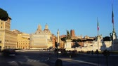 Time-lapse: Piazza Venezia is central hub of Rome, Italy. One side of the Piazza is site of Italys Tomb of Unknown Soldier in Altare della Patria, part of imposing Monument to Vittorio Emanuele II. Stock Footage