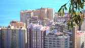 bull ring : Panorama of La Malagueta, port and central part of Malaga. Malaga is municipality in Community of Andalusia, Spain. Southernmost large city in Europe, it lies on Costa del Sol of Mediterranean. Stock Footage