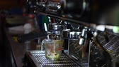 barista : Espresso machine brewing a perfect shot Stock Footage