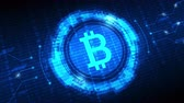 весы : Bitcoin symbol with futuristic HUD interface, digital currency