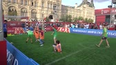 квадраты : Kids Playing Football In Moscow During World Cup 2018 Soccer 4K 2 Стоковые видеозаписи