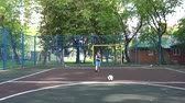 excitação : Boy Playing Soccer Outdoors Slow Motion