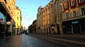 new day : Tram in the morning in Zagreb in Croatia