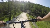 POV man riding e-bike.Mtb action cyclist exploring trail path near mountain forest woods.Electrical bike active people sport travel vacation in Europe Italy Alps outdoors in summer.4k video