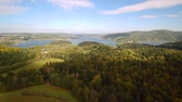 denizci : Flight over summer Solina Lake in Polish Bieszczady Mountains Stok Video