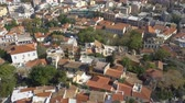 çatılar : Roofs of Old Town of Athens from above, Greece. Zoom out Stok Video