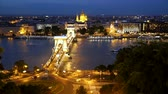 Chain Bridge at dusk in Budapest city, Hungary Stock Footage