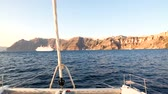 Yacht sailing at sunset near Santorini, Greece Stock Footage