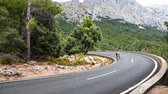 fitness : Cyclists riding up the Puig Major peak in Majorca, Spain
