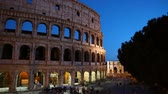 Night view of the Colosseum amphitheatre in the centre of Rome