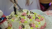 bolo : Wedding couple cutting a wedding cake on their wedding day