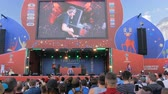projetor : NIZHNIY NOVGOROD, RUSSIA - JUNE 2018: FIFA World Cup 2018 - FIFA Fan Fest - People partying at Pendulum open air concert in front of the stage
