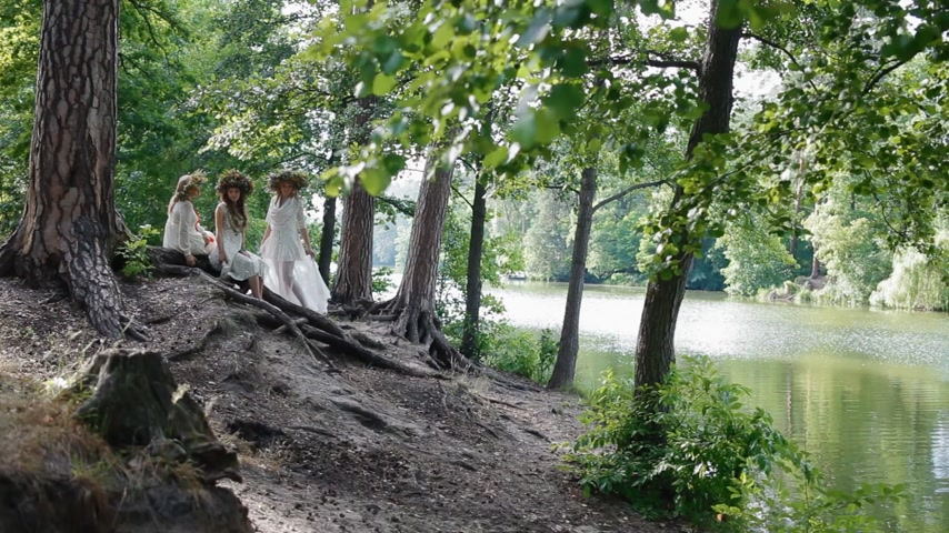 feminity : KYIV, UKRAINE - 3 July 2015: Three women in stylized slavic clothes and wreaths posing in the wood near the river. Ivana Kupala holiday concept. Stock Footage