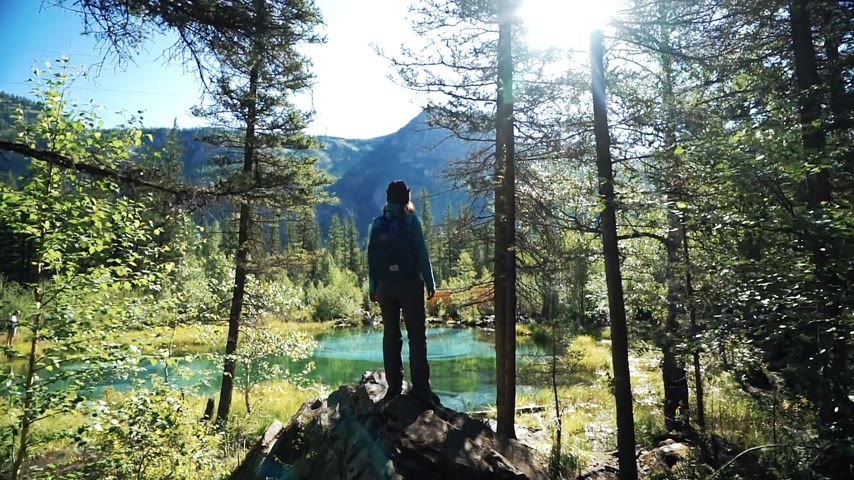 tourist silhouette : Young happy traveler girl with backpack and cap is standing on a picturesque blue lake in the mountains and puts his hands in the air in sunny day. Back view
