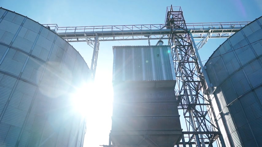 Commercial grain or seed silo is in sunny day
