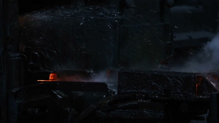 blast furnace : Metallurgy. Steel production. The process of cooling metal. Stock Footage