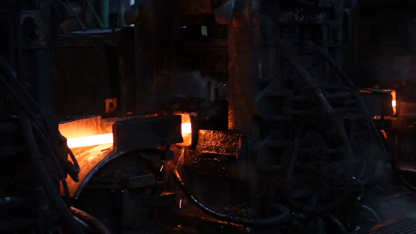 blast furnace : Red hot steel moves to coolings. Metallurgy plant. Stock Footage