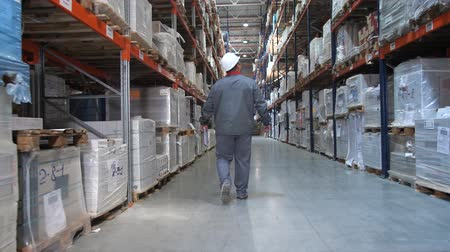 партия : An employee at a logistics warehouse checks products. A man walks along huge shelves with boxes. 4K Slow Mo