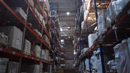 przesyłka : Huge logistic warehouse. Camera movement along high shelves with boxes. 4K Slow Mo