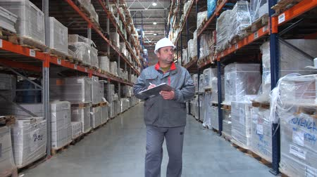 przesyłka : Warehouse worker inspecting high racks with boxes. A man walks in a row, the camera in motion. 4K Slow Mo