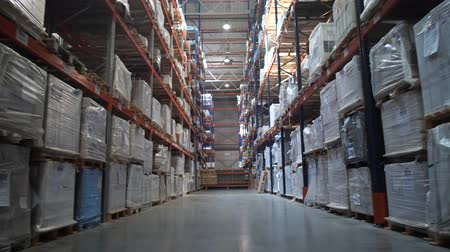 партия : Logistics warehouse. Camera in motion. On the shelves are flying with goods. 4K Slow Mo