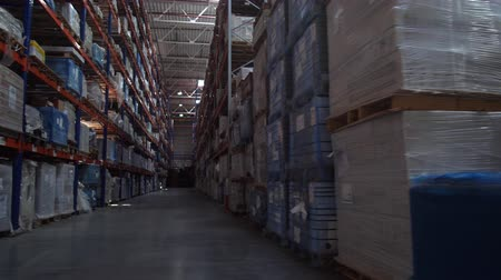 vorkheftruck : Panorama between the rows of a huge logistics warehouse. 4K Slow Mo Stockvideo