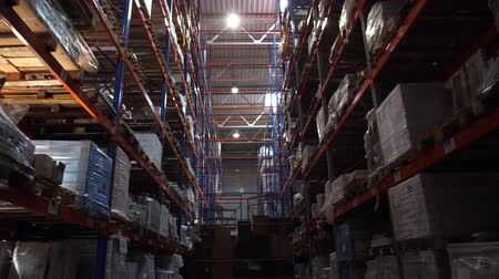 партия : Large logistic warehouse. Very tall racks with boxes. Camera in motion between the rows. 4K Slow Mo Стоковые видеозаписи